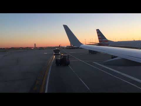 American Airlines B737-800 Taxi and Takeoff Chicago O'Hare