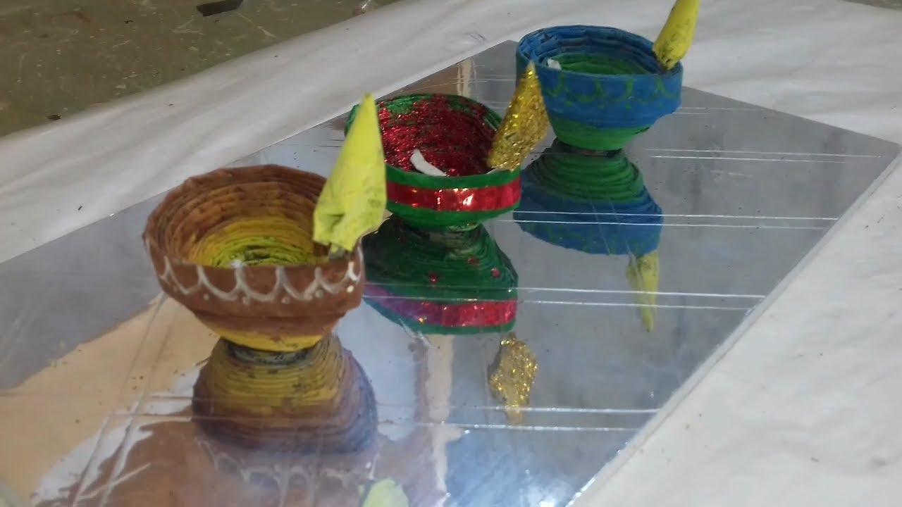 Diy paper diya diya craft how to make for Diya decoration youtube