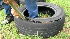 How to cut a tire and make it into a garden pot.wmv