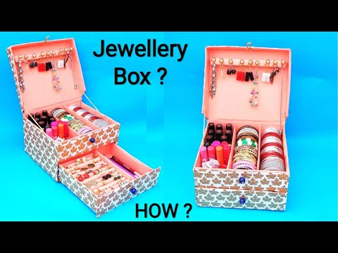 DIY : How to make Bangle box at home with cardboard box   Best out of waste   Easy Jewellery box