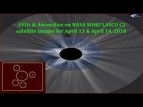 UFOs & Anomalies on NASA SOHO LASCO C2 satellite images for April 13 & April 14, 2018