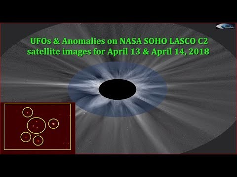 nouvel ordre mondial | UFOs & Anomalies on NASA SOHO LASCO C2 satellite images for April 13 & April 14, 2018