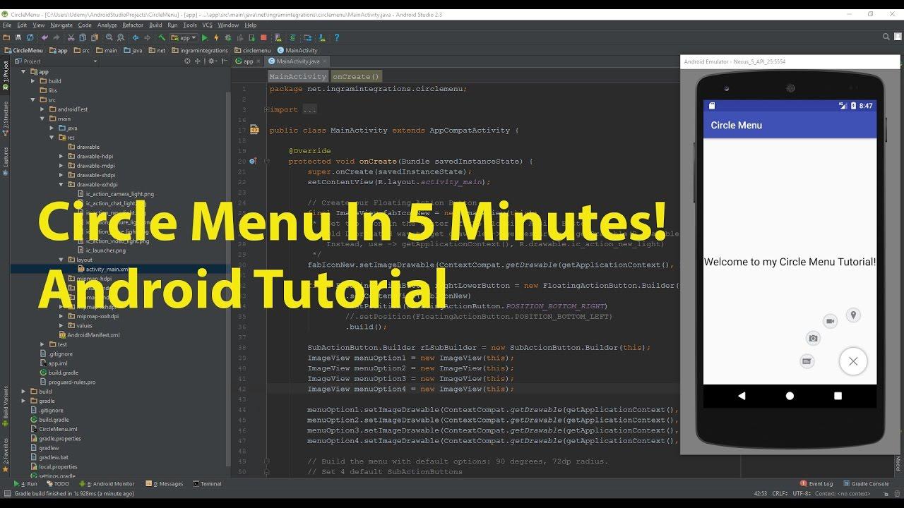 5 Minute Video Series - Episode 5 - Create a Circle Menu in Android Studio