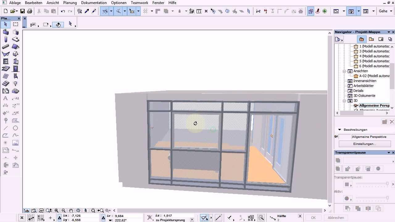 Glasfassade detail bodenanschluss  Archicad 16 Basics 27 Tut Glasfassade Pfostenriegelkonstruktion im ...