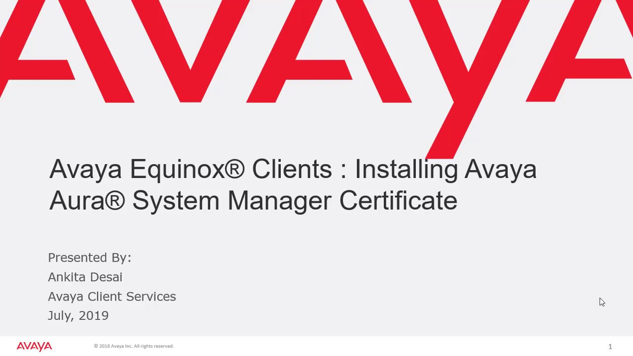 How to install Avaya Aura System manager default certificate on Avaya  Equinox client