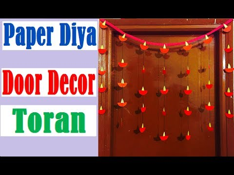 Diwali Decoration Ideas | How to make Paper Diya Door Decor Toran at home | Door hangings