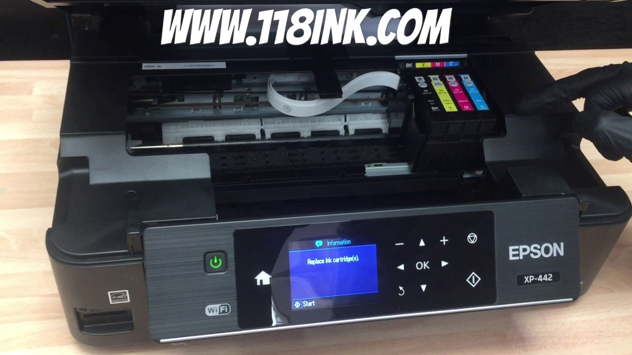 how to change the ink cartridges on an epson xp 442 printer youtube. Black Bedroom Furniture Sets. Home Design Ideas