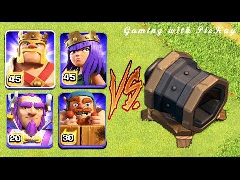 Max Giant Cannon Vs Barbarian King Vs Archer Queen Vs Battle Machine Vs Grand Warden |Clash Of Clans