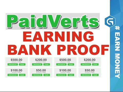 Paidverts Payment Transfer Bank Proof - Earn Money from Online Advertising