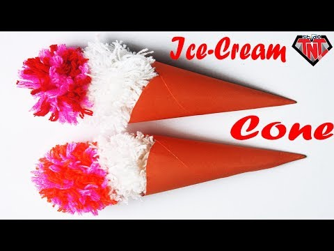 How To Make Origami Ice Cream Cone || Paper & Woolen Ice Cream making Idea