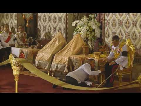 Thai Crown Prince Maha Vajiralongkorn at ceremony to bathe late King Bhumibol Adulyadej
