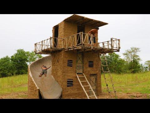 Build Big Swimming Pool & Three Story Mud House With Water slide Around House  -2