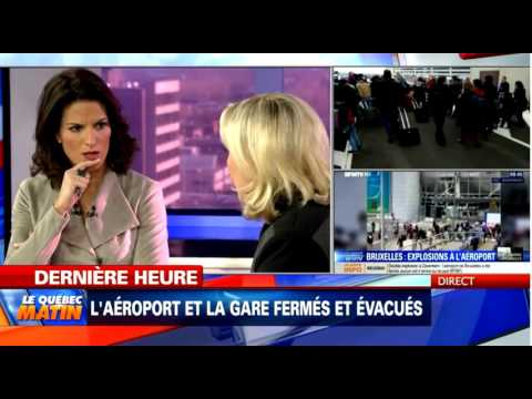 Marine Le Pen sur TVA à Montréal interview post-Attentats 22.03.16
