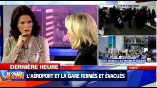 Marine Le Pen sur TVA à Montréal interview post-Attentats 22.03.16