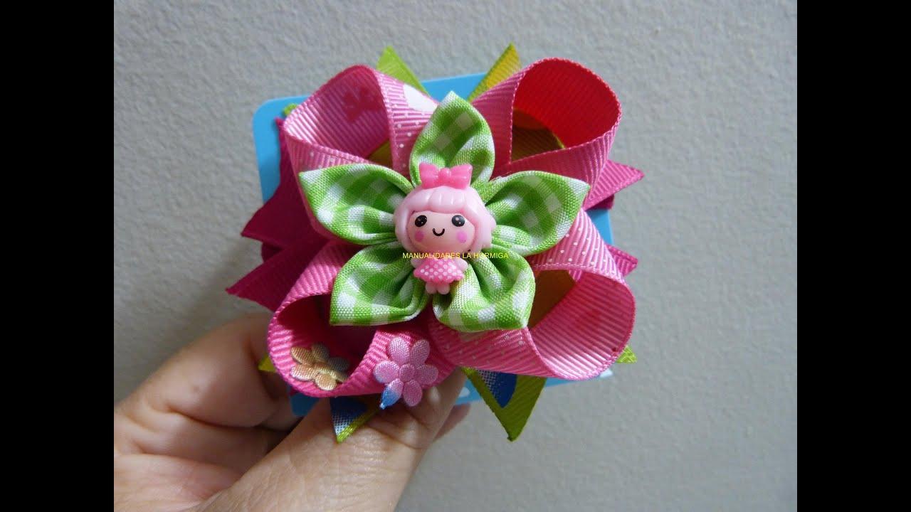 Como hacer lazos flor de tela tutorial par mo os - Como hacer flores ...
