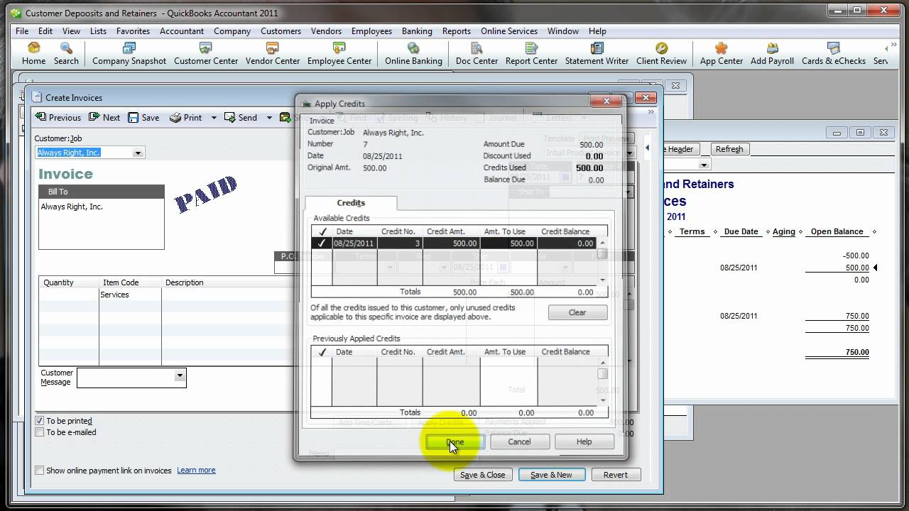 Quickbooks How To  Customer Deposits And Retainers