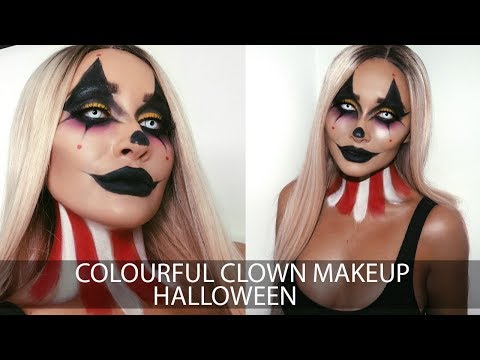 Colourful Clown Halloween Makeup Tutorial with Simple Skincare | Sarah Ashcroft | Ad