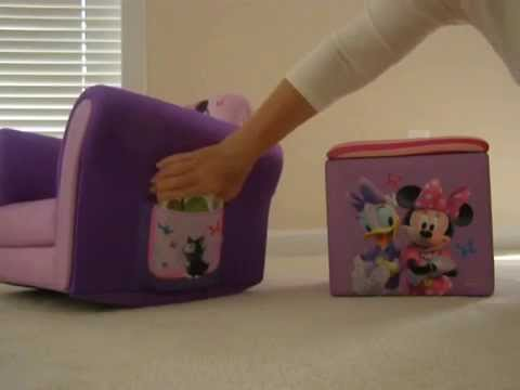 mickey mouse clubhouse chair wicker on stand review disney minnie upholstered with 2pk storage cubes bundle
