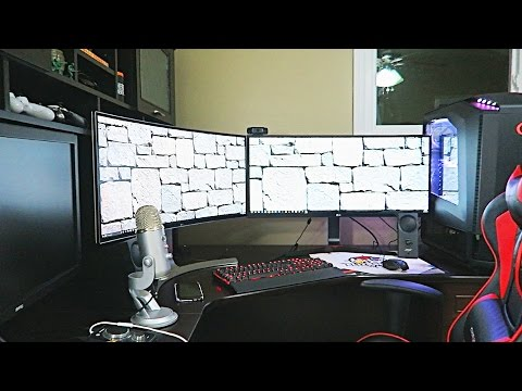 DOUBLE CURVED MONITOR SETUP!