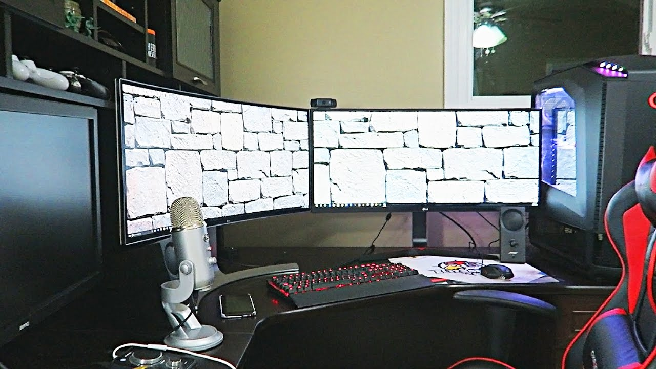 Double Curved Monitor Setup Youtube
