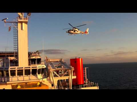 Offshore Rescue Helicopter D-HNHC landing Offshore Helipad THOR