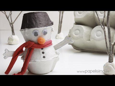 Mu eco de nieve con caja de huevos youtube - Caja de huevo ...