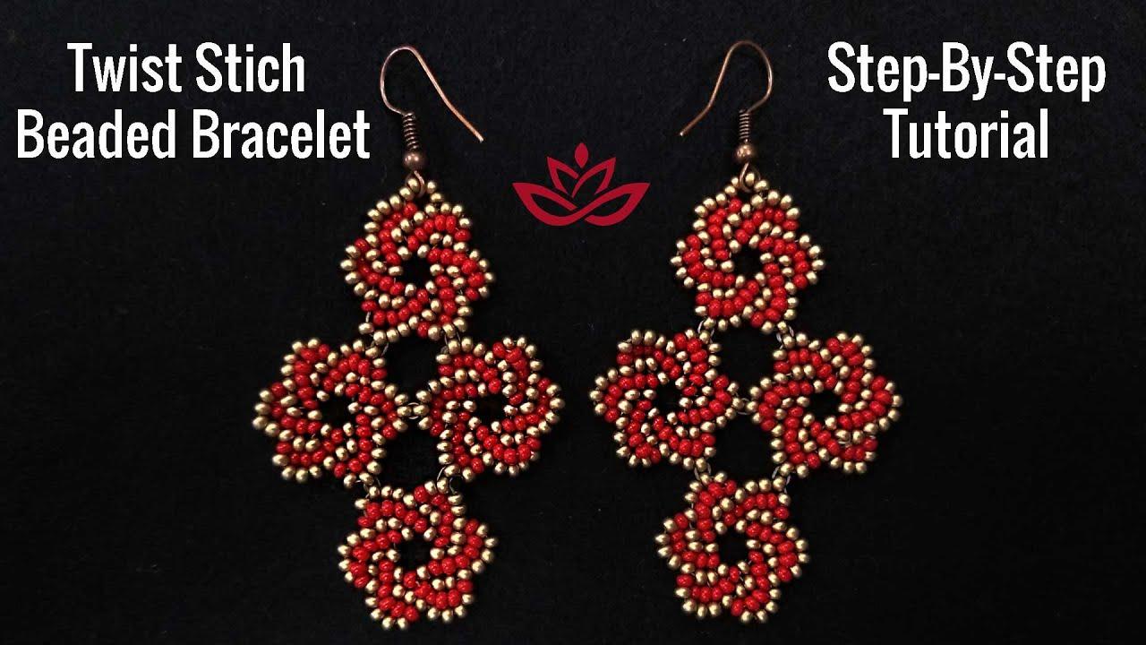Dimond Shaped Twist Stich Earrings - Tutorial. How to make beaded earrings?