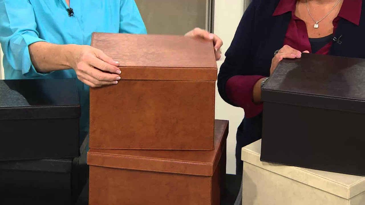 S/2 Small Collapsible Faux Leather Storage Boxes By Valerie With Jill Bauer    YouTube