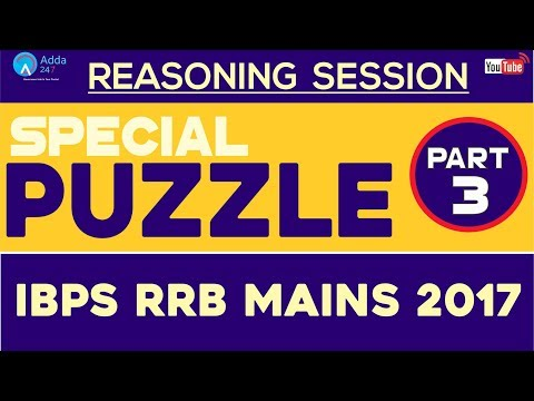 Reasoning Ability: Special Puzzle For IBPS RRB MAINS 2017 (Part-3)