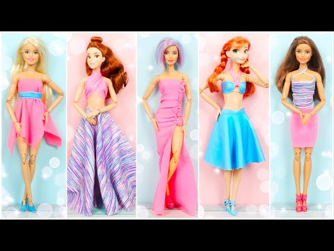 HOW TO MAKE BARBIE CLOTHES IN 5 WAYS? NO SEW NO GLUE DOLL DRESS EASY