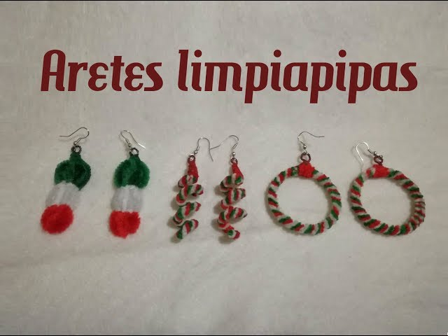 Aretes tricolor con limpiapipas, fiestas patrias/pipe cleaner earrings