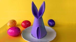 Osterhasen basteln mit Papier-Servietten falten Ostern: DIY Osterdeko selber machen. Origami Hase