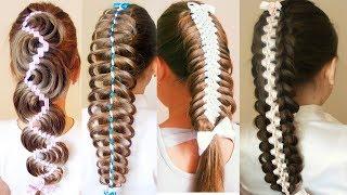 Косы с лентами в школу  Причёски на 1 сентября пошагово Hair Tytorial
