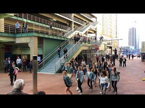 Best wedding proposal Bruno Mars Marry You flash mob before Hamilton in DenverArtistic Fusion