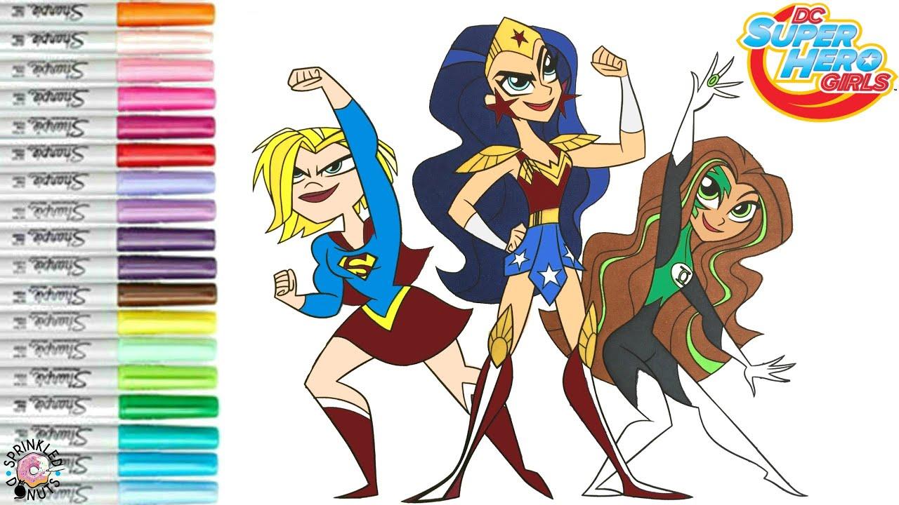 DC Super Hero Girls Coloring Book Page Supergirl Wonderwoman and Green  Lantern