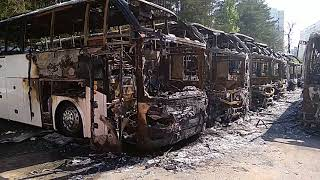 Gambar cover Война за автобусы, сгорело 19 автобусов Higer и Golden Dragon