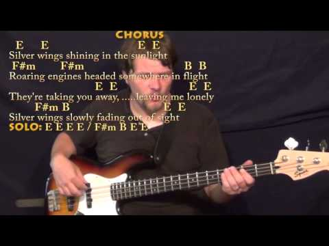 Silver Wings (Merle Haggard) Bass Guitar Cover Lesson in E with Chords/Lyrics