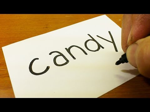 How to turn words CANDY into a Cartoon for kids -  How to draw doodle art on paper