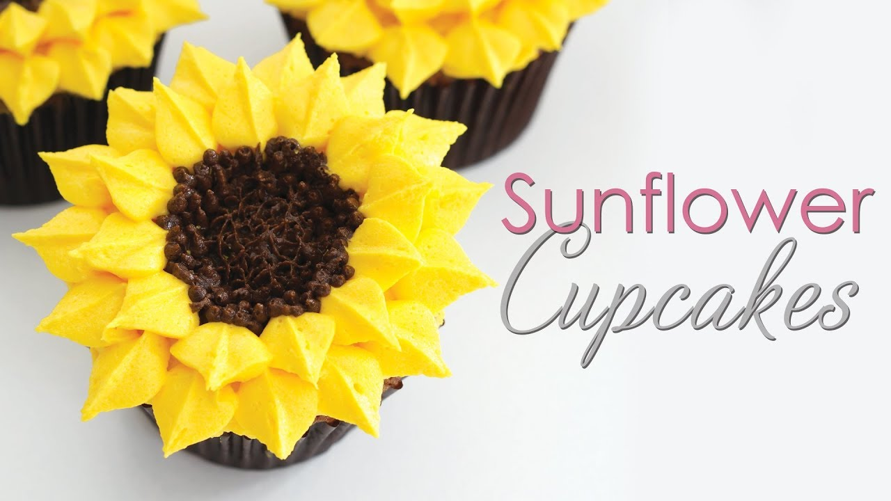 Sunflower Cupcakes Buttercream Piping Technique Tutorial