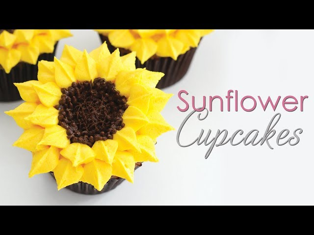 Sunflower Cupcakes - Buttercream Piping Technique Tutorial
