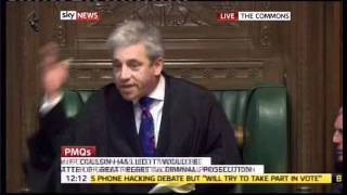 UK Speaker screamed order 8 times as the House went wild during the Hacking debate