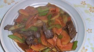 Chinese Beef Stir Fry With Papaya Fruit (Unique Chinese Cooking)