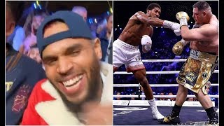 Chris Brown At Anthony Joshua VS Andy Ruiz Fight