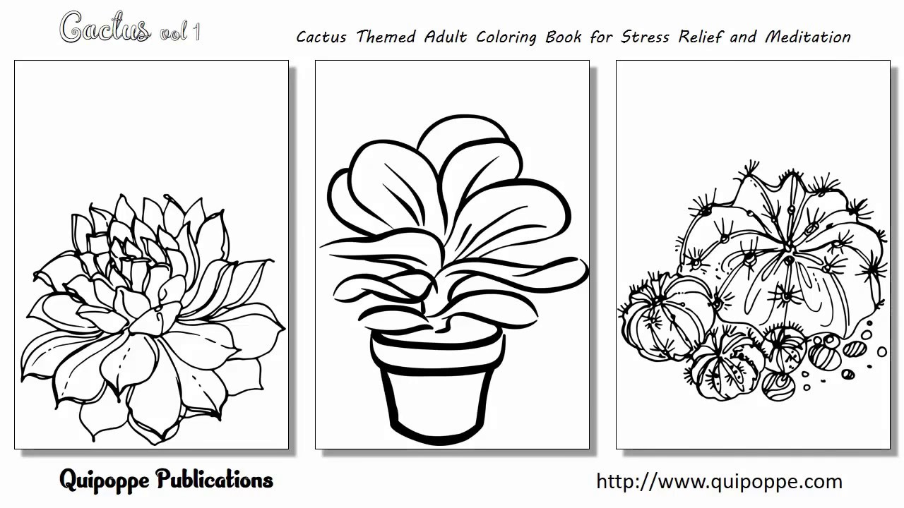 Coloring book adult meditation stress - Cactus Vol 1 Cactus Themed Adult Coloring Book For Stress Relief And Meditation By Quipoppe Publ