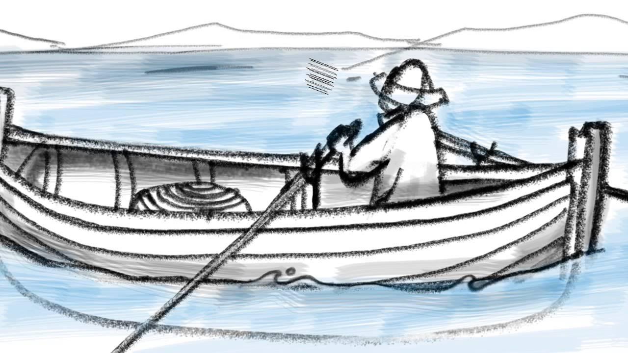 Dibujos Para Colorear Un Pescador: Barca Y Pescador