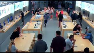 Four thieves storm the Fresno Apple Store and steal $27K worth of electronics| LiveLeak