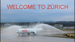 (WELCOME TO ZÜRICH) First Swiss Boeing 777 HB-JNA at ZRH (Live ATC)