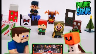 Minecraft Mini Figures Festive Biome Playset Holiday Exclusive Figure Pack Creeper Unboxing