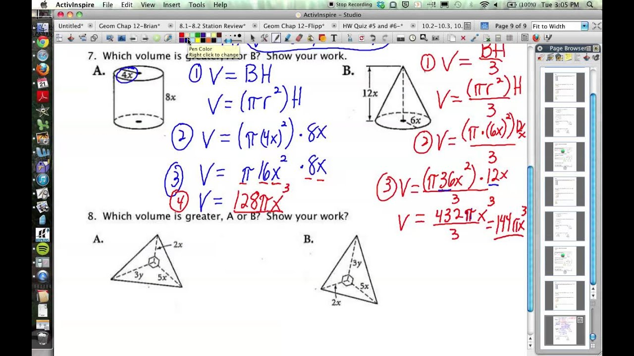 102103106 Geometry Volumes of Prisms Cylinders Cones – Volume of Cone Worksheet