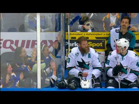 Thornton squirts water at & dances with young Blues fans